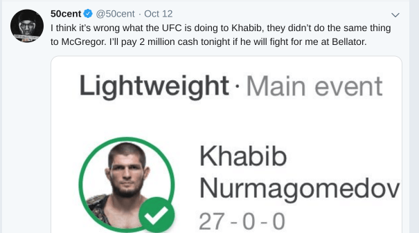 50 Cent Offers Khabib $2M to Fight for Bellator